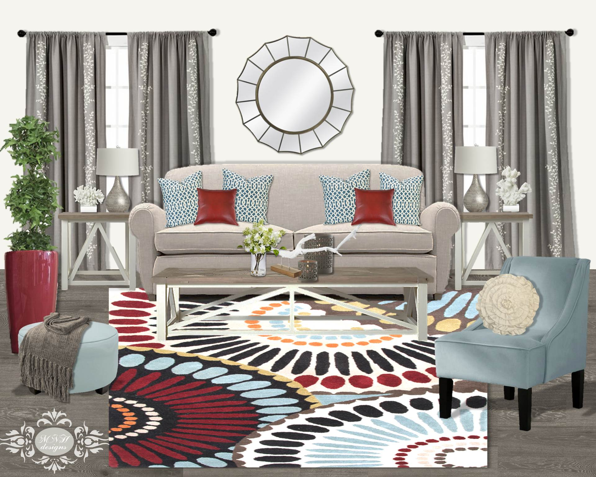 Neutral living room with pops of color mnh designs for Neutral decor with pops of color